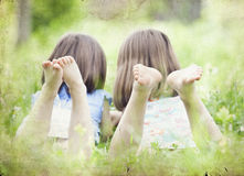 Girls in the park-vintage photo Royalty Free Stock Images