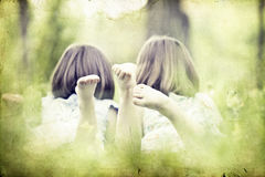 Girls in the park-vintage photo Royalty Free Stock Image