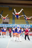 Girls - participants of cheerleaders team Leader perform Stock Photos