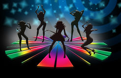 Girls party. Girls night party at dance club vector illustration