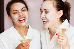 Girls party in spa centre with relax and communication stock photos