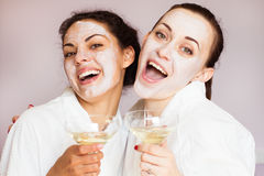 Girls party in spa centre with relax and communication stock photography