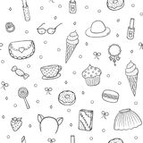 Girls Pattern-03. Seamless pattern with sweets and girls accessories: clothes, cosmetics,  jewelry, secret diary, etc. Black outline on white. Vector Royalty Free Stock Photo