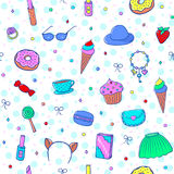 Girls Pattern-02. Seamless pattern with sweets and girls accessories: clothes, cosmetics,  jewelry, secret diary, etc. Vector illustration Stock Image