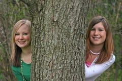 Girls Peeking Around a Tree royalty free stock photos