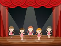 Girls perform ballet on stage vector illustration