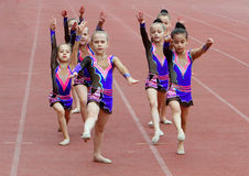 Girls perform on the opening ceremony Royalty Free Stock Image