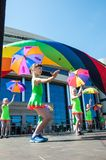 The girls performed a dance with umbrellas Royalty Free Stock Images
