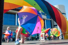 The girls performed a dance with umbrellas Stock Photography