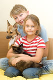 Girls with pets Royalty Free Stock Photography
