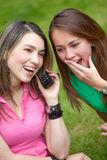 Girls on the phone Royalty Free Stock Photos