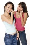 Girls and Phones 2. Two pretty young women using phones Stock Image
