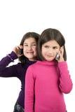 Girls with phones Stock Photo