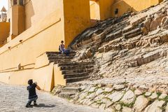 Girls are photographed among the sights. Amer Fort. Amber fort.