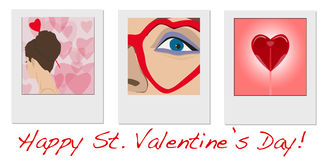 Girls photos with wishes of Happy Valentines Day Royalty Free Stock Photography