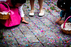 Girls picking confetti Stock Photography
