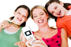 Girls picture messaging Stock Photos