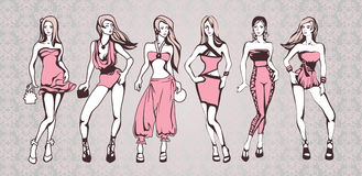 Girls in pink. The sketch of a summer female fashion. Linear drawing Stock Photography