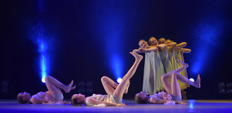 Girls in pink air dresses dancing on stage Stock Image