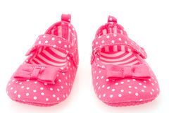 Girls pink baby shoes Stock Photo