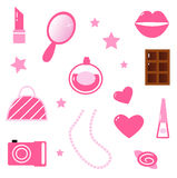 Girls pink icons and elements isolated on white Stock Image