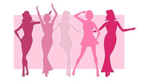 Girls in Pink Silhouettes. An illustration featuring a row of girls in pink silhouette against pink background with assorted poses Stock Image