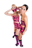 Girls in pink tape dress Royalty Free Stock Photo