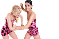 Girls in pink tape dress Royalty Free Stock Photography