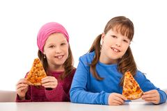 Girls with pizza royalty free stock photos