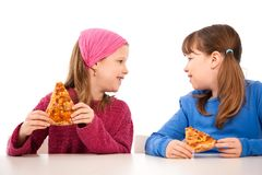 Girls with pizza royalty free stock photo