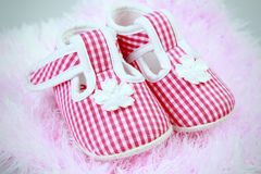 Girls plaid shoes Stock Photography
