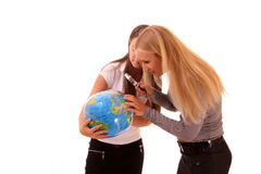 Girls planing travel Stock Images