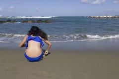 Girls play on beach. Chiaia forio ischia italy Stock Photo