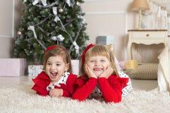 Girls play Christmas Royalty Free Stock Image