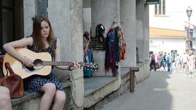 Girls play guitar sing Royalty Free Stock Images