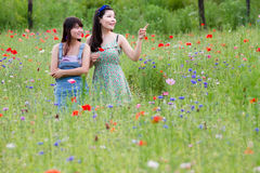 Girls play in poppy field Royalty Free Stock Photos