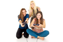 Girls play video games Stock Photography