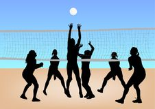 Girls play volleyball Stock Photos