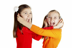 Girls played and indulged Royalty Free Stock Photography