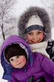 Girls played with snow Royalty Free Stock Photo