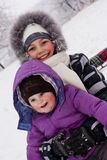 Girls played with snow Royalty Free Stock Photos