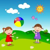 Girls playing ball. Two happy little girls play with a coloured ball. Eps file available Stock Images