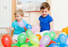 Girls playing with  balloons Royalty Free Stock Photos