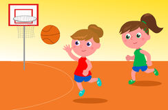 Girls playing basketball. Two young women playing basketball cartoon illustration vector illustration