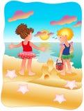 Girls playing on the beach. Little girls having fun on the beautiful beach, under sunset. (Summertime illustration Stock Image