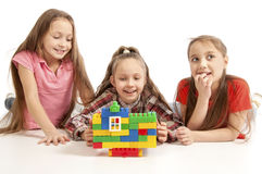 Girls playing with constructor Stock Photo