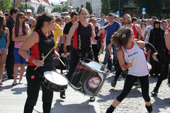 Girls playing drums Stock Image