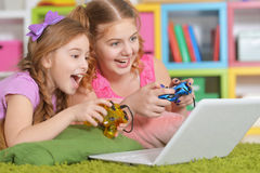 Girls  playing games Royalty Free Stock Image
