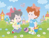 Girls playing on a green lawn. Cute little children with a small toy rabbit among flowers on green grass against a background of colorful houses of a small town vector illustration
