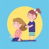Girls playing hair salon game Royalty Free Stock Image